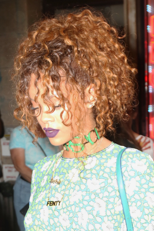 Rihanna Curly Auburn Dark Roots Face Framing Pieces Updo