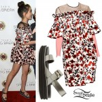 Rowan Blanchard: Rose Dress, Flatform Sandals