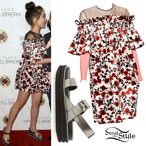 Rowan Blanchard: Rose Dress, Flatform Sandals