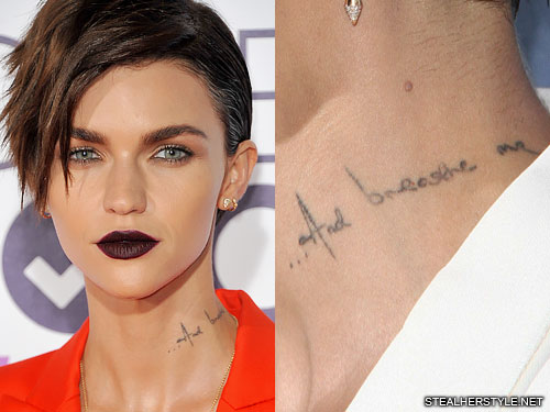 Ruby Rose Quot And Breathe Me Quot Neck Tattoo Steal Her Style