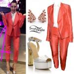 Sofia Carson: Salmon Suit, Silver Sandals