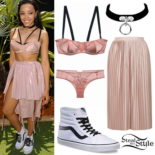 Tinashe: Pink Bra & Skirt, High-Top Vans