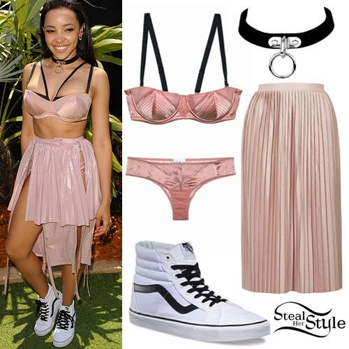 Tinashe: Pink Bra & Skirt, High-Top Vans