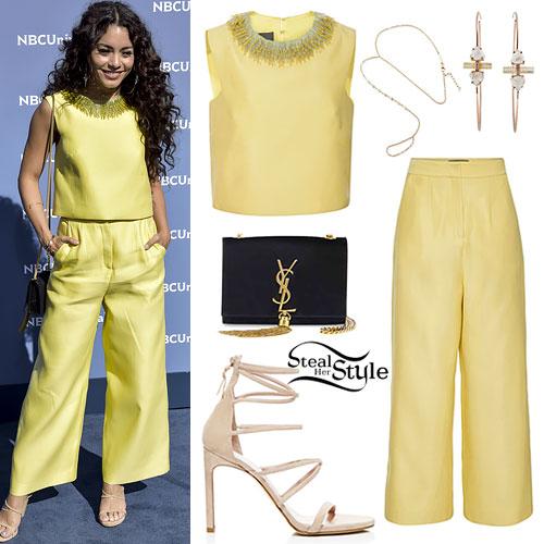 Vanessa Hudgens: Yellow Beaded Top & Trousers