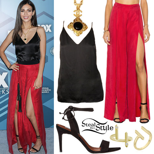 Victoria Justice: Silk Cami, Slit Trousers