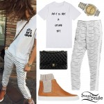 Zendaya: Striped Trousers, Sneaker Boots