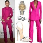 Zendaya: Fuchsia Suit, Silver Sandals