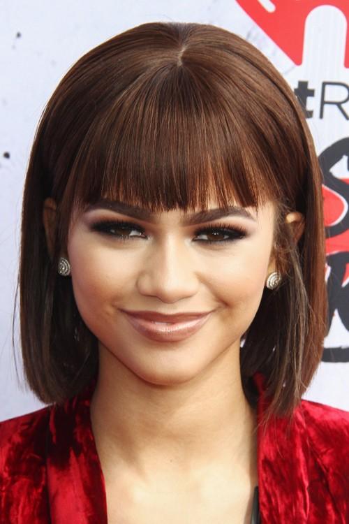 Zendaya Hairstyles : Zendaya Straight Medium Brown Blunt Cut, Bob, Straight Bangs Hairstyle ...