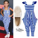 Ariana Greenblatt: Striped Jumpsuit, Studded Slip-Ons