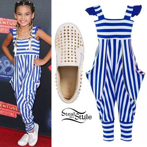 Ariana Greenblatt: Striped Jumpsuit, Studded Slip-Ons