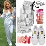 Ashley Tisdale: Striped Satin Pajamas