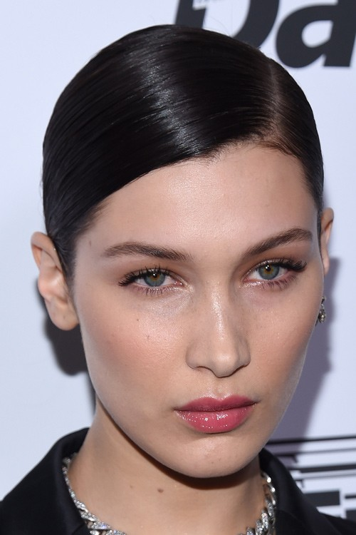 Bella Hadid Straight Dark Brown Slicked Back Hairstyle