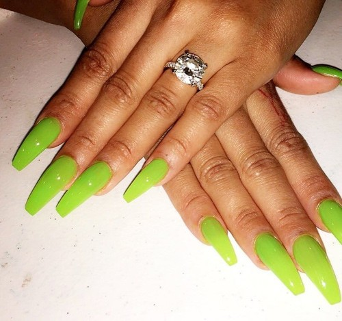 Blac Chyna Lime Green Nails Steal Her Style