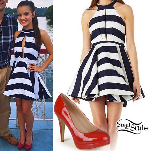 Brooke Hyland: Striped Dress, Red Pumps