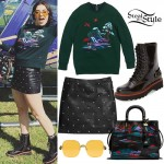 Charli XCX: Nature Sweatshirt, Leather Skirt