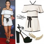 Danielle Campbell: Off-Shoulder Romper, Wrap Sandals