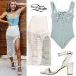 Eva Gutowski: Lace-Up Bodysuit, Crochet Skirt