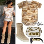 India Westbrooks: Camo Tee, Tan Boots