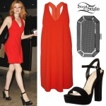 Katherine McNamara: Red Dress, Octagon Clutch