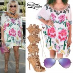 Kesha: Flower Kaftan, Gladiator Sandals