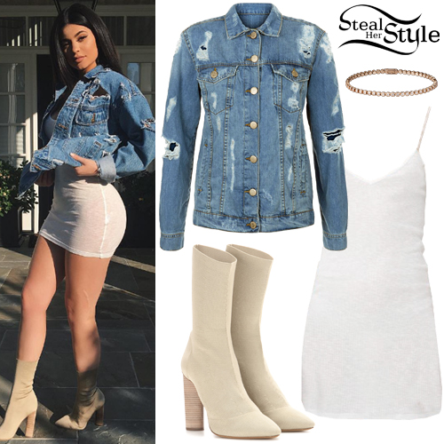 Kylie Jenner Ripped Denim Jacket Knit Boots Steal Her Style