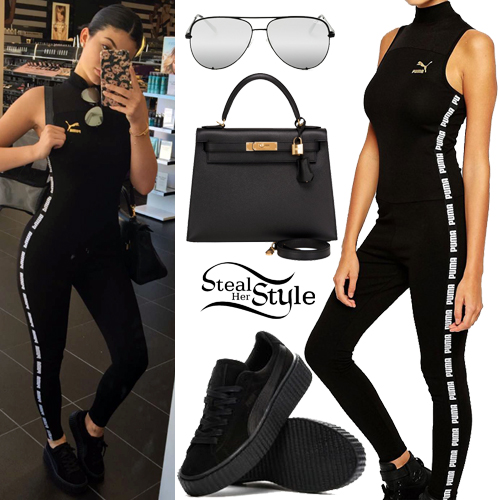 Kylie Jenner Black Puma Jumpsuit Outfit Steal Her Style