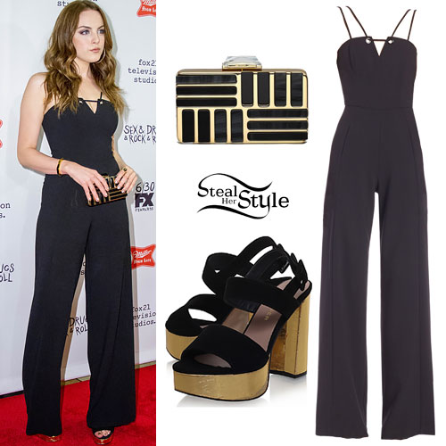 Elizabeth Gillies: Strappy Jumpsuit, Gold Platforms
