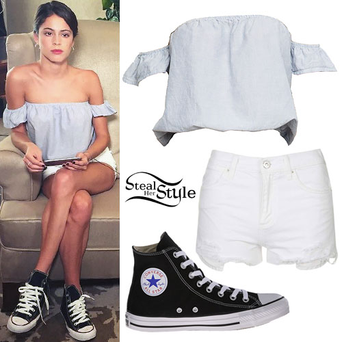 Martina Stoessel: Off-Shoulder Top, Converse