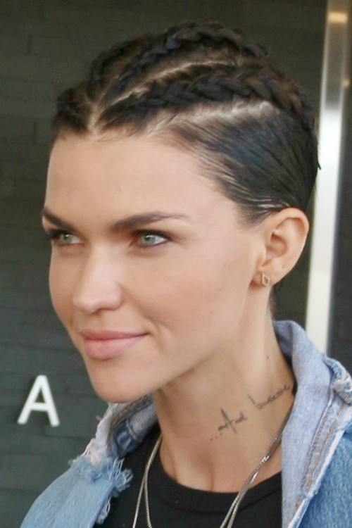 Ruby Rose Straight Medium Brown Cornrows Hairstyle Steal