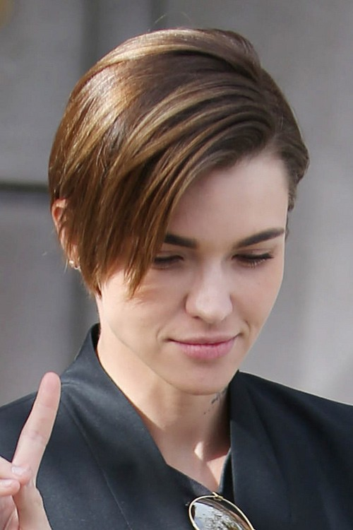 Ruby Rose Straight Medium Brown All Over Highlights Choppy Layers Hairstyle