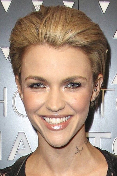 Hairstyles Ruby Rose : Ruby Rose Straight Light Brown Slicked Back Hairstyle Steal Her ...