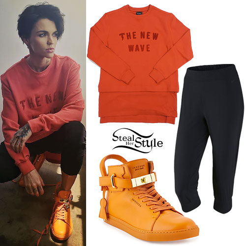 Ruby Rose: New Wave Sweatshirt, Orange Sneakers