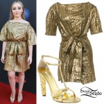 Sabrina Carpenter: Gold Metallic Shift Dress