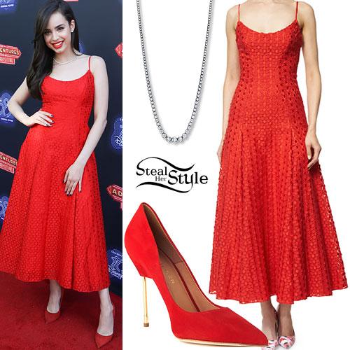 Sofia Carson: Red Crochet Dress