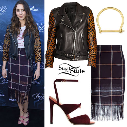 Troian Bellisario: Cheetah Jacket, Plaid Skirt
