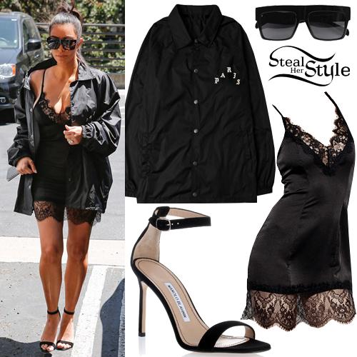 kim kardashian lacesatin dress black jacket steal her