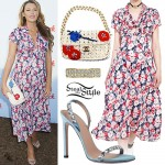 Blake Lively: Floral Dress, Crochet Bag