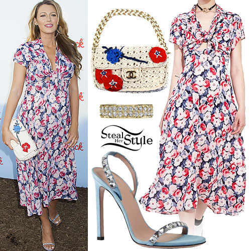 Blake Lively: Floral Dress, Crochet Bag