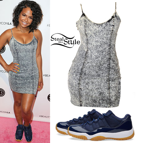 Christina Millian: Denim Dress, Navy Jordans
