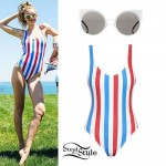 Gigi Hadid: Patriotic Swimsuit, Cat Eye Glasses