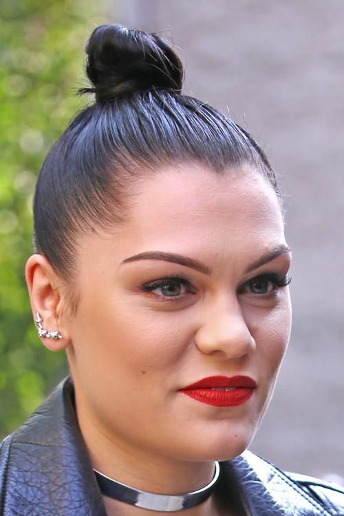 Jessie J Straight Black Bun Hairstyle | Steal Her Style