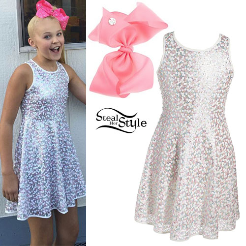 JoJo Siwa: White Sequin Skater Dress