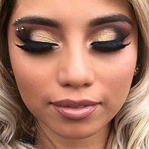 kirstin maldonado makeup black eyeshadow gold eyeshadow