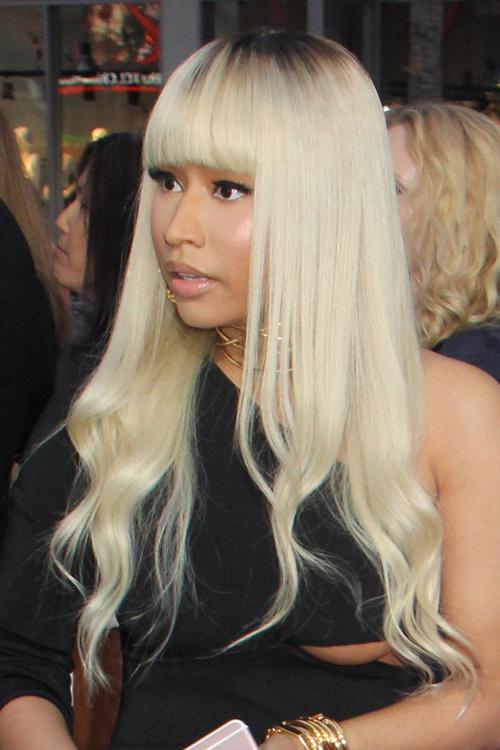 Nicki Minaj Wavy Platinum Blonde Dark Roots Straight