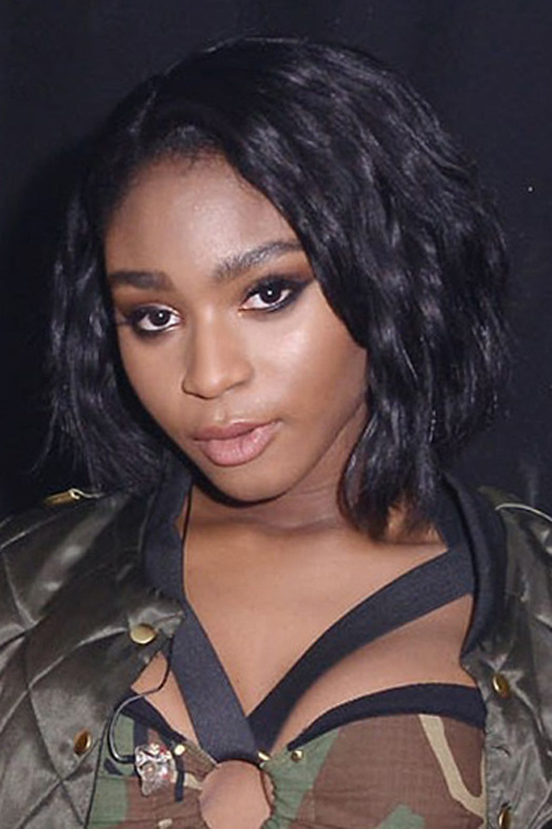 Normani Wavy Black Angled Bob Bob Hairstyle Steal Her Style