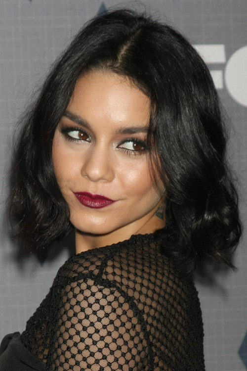 Vanessa Hudgens Wavy Black Blunt Cut, Bob Hairstyle | Steal Her Style