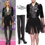 Cara Delevingne: Tulle Dress, Thigh Boots