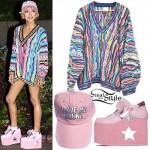 Jhené Aiko: Print Sweater, Pink Platforms