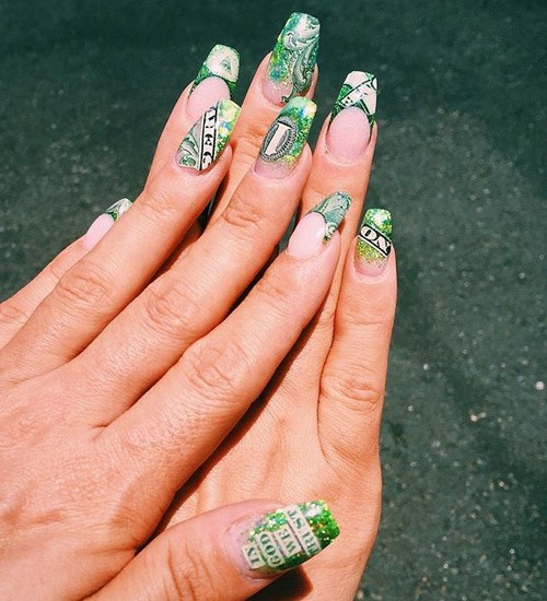 Lily Allen Clear Green Dollar Bills Nail Art Number Writing