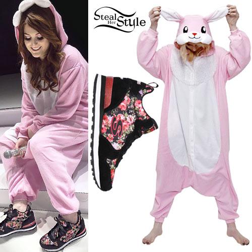 Meghan trainor bunny onesie floral sneakers steal her style